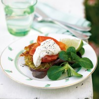 Smoked trout on crunchy potato cakes with chive and horseradish cr�me fra�che recipe