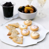 Rosemary biscuits with marinated olives and filled tartlets recipe