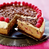American-Style Baked Chocolate and Raspberry Cheesecake