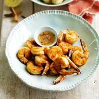 Chilli and lemongrass prawns with roasted cauliflower and a Thai dipping sauce recipe