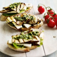 Chargrilled aubergine sandwich with feta recipe