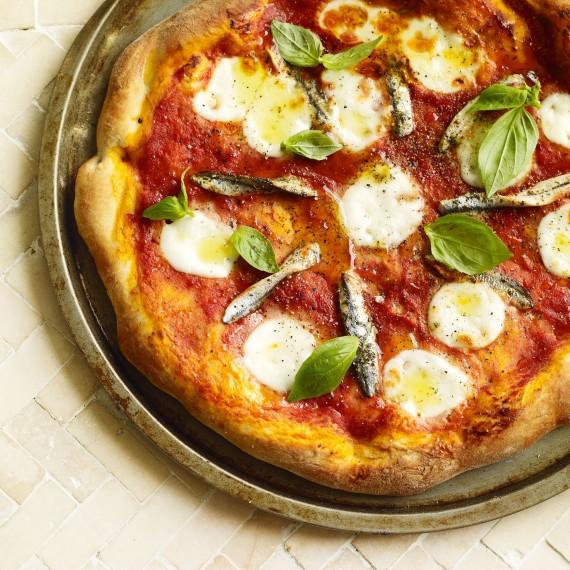 tomato  mozzarella and anchovy pizza