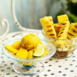 Mango with Sorbet and Lime Syrup