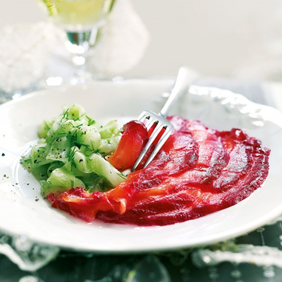 Beetroot and Vodka-Cured Salmon with Pickled Cucumber Salad Recipe