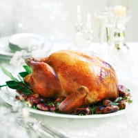 Roast turkey with sherry, pancetta, anchovy and rosemary stuffing recipe