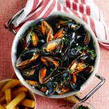 Moules Marinières with Home-Cooked Oven Chips