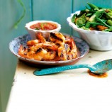 Prawns with a tomato and chilli dip recipe