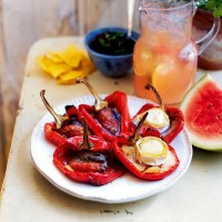Roasted peppers with goats' cheese and anchovies