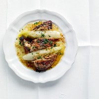 Honeyed chicken with braised chicory recipe