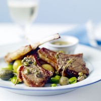 Grilled Lamb Cutlets with Anchovy and Caper Sauce