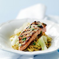 Seared salmon with horseradish and noodle salad recipe