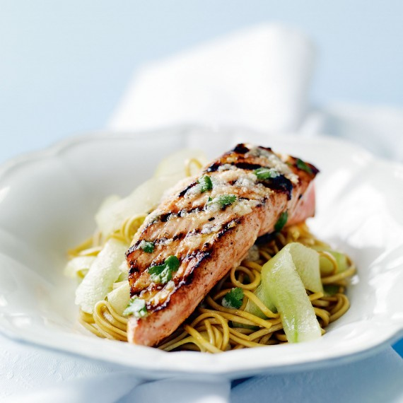 Seared Salmon with Horseradish and Noodle Salad recipe-recipe ideas-new recipes-woman and home