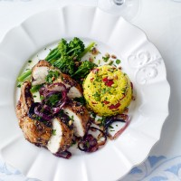 Roast chicken with herbs and rice pilaff recipe