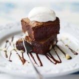 Toasted macadamia brownies with mascarpone sorbet recipe