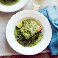 Crispy salmon with coconut, mint and coriander sauce, and soba noodles recipe