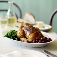 Sumac and lemon chicken with red grapes recipe