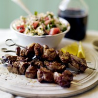 Marinated lamb skewers with giant couscous salad recipe
