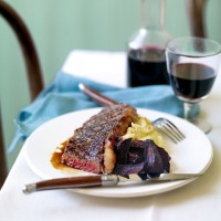 Pomegranate Molasses Griddled Steak, with Roasted Beetroot and Garlic Mash