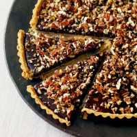 Intense chocolate, caramel and nut tart recipe