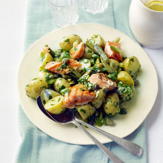 New Potato and Grilled Salmon Salad with Dijon and Parsley Dressing Recipe-woman and home