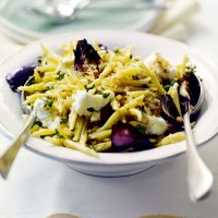 Trofie pasta with roasted red onions and goats' cheese recipe