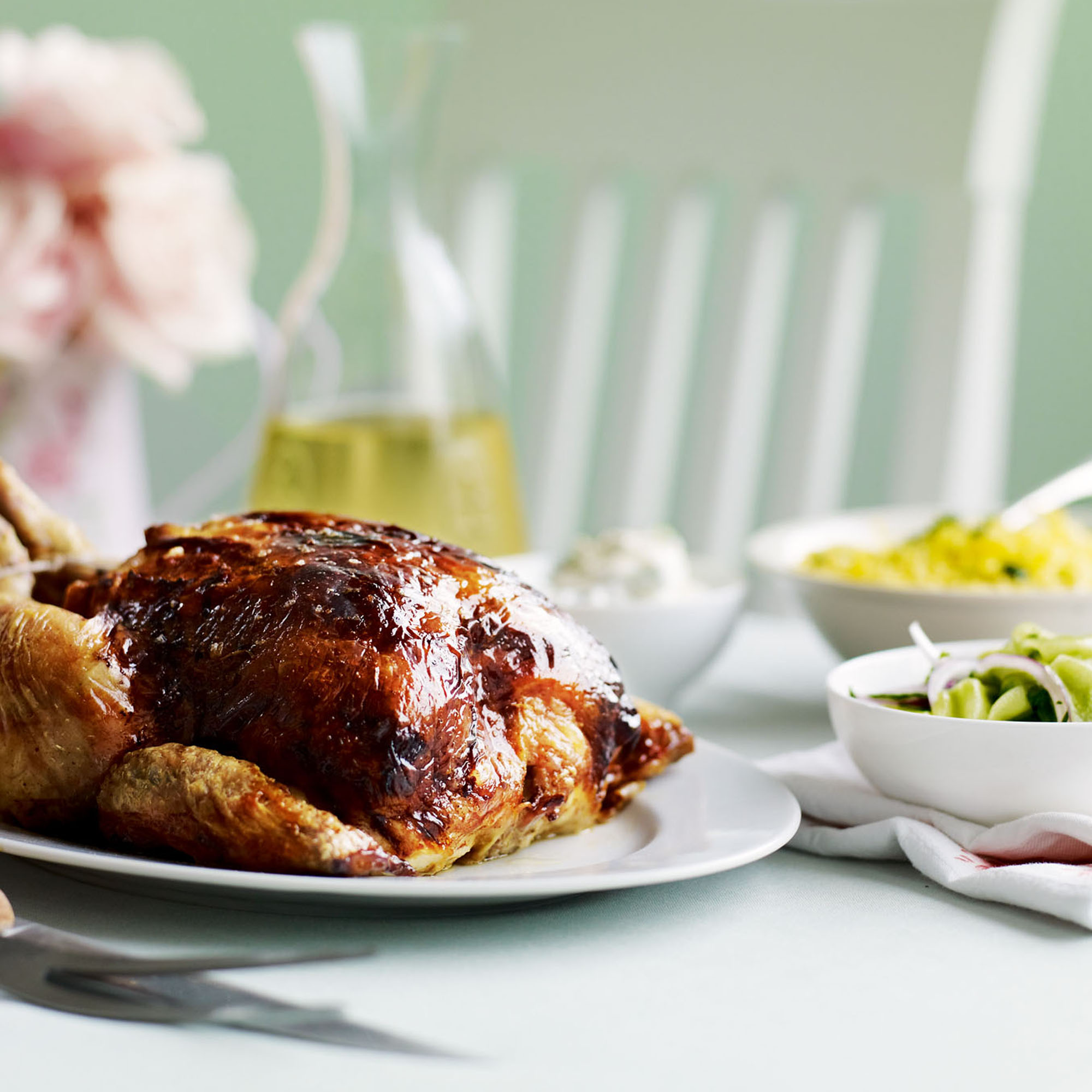 Tikka roasted chicken with salted cucumber salad woman for Roast chicken uk