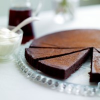 Warm chocolate tart with tawny port syrup