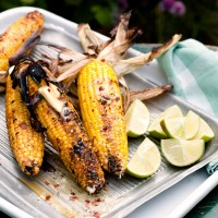 Barbecued corn in its husk with lime and chilli butter recipe