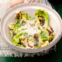 Little gem and Pecorino salad with sweet mustard dressing recipe