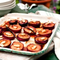 Honey and rose-baked plums recipe