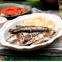 Chargrilled sardines with spicy red pepper relish recipe