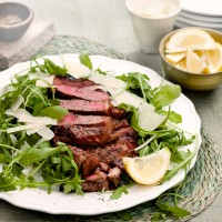 Chargrilled sirloin with rocket, Parmesan and lemon recipe