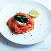 Giant blinis with smoked salmon and caviar recipe