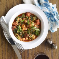 Chorizo, Chickpea and Potato Stew with Kale