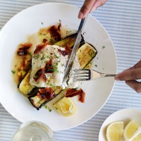 Cod with courgettes, crispy pancetta and dill recipe