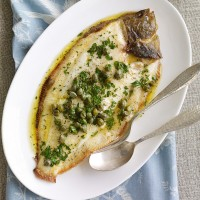 Grilled whole sole with lemon and caper butter recipe