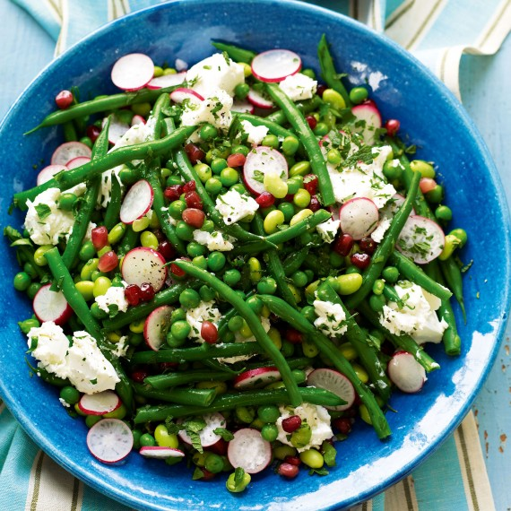 Mixed Bean Salad with Radish, Pomegranate and Goats' Cheese