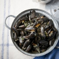 Mussels with Dry Sherry, Garlic and Thyme