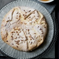 Toasted pine nut tart with clementine syrup recipe