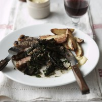 Griddled sirloin steak with garlic and parsley mushrooms recipe