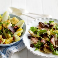 Serrano ham, sourdough and sour cherry salad with roasted onions recipe