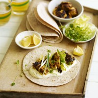 Chicken tikka chapatti wrap with saffron yogurt recipe