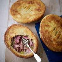 Hot water crust ham hock pie with celery and leeks recipe