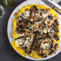 "Wild mushroom and Parmesan polenta ""pizza"" recipe"