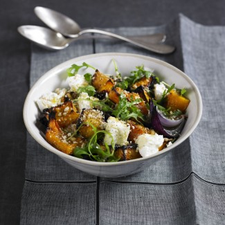 Roasted squash and goats' cheese with breadcrumbs recipe