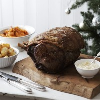 Roast rib of beef with horseradish and roasted butternut squash recipe