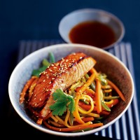 Japanese-style salmon with noodle stir-fry recipe