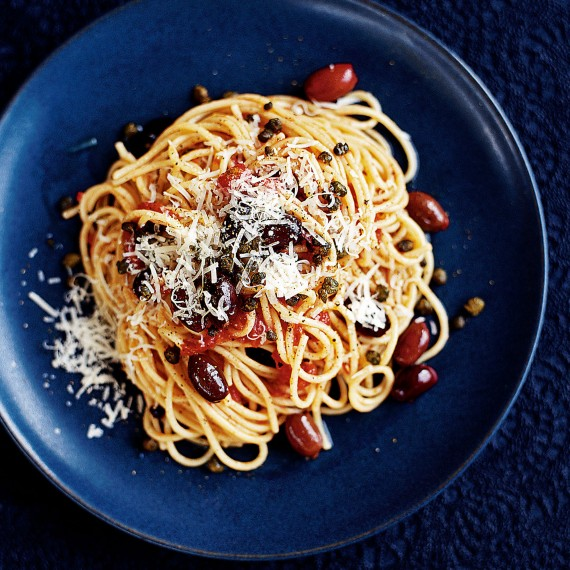 Spaghetti with Olives and Crispy Capers recipe-pasta recipes-recipe ideas-new recipes-woman and home