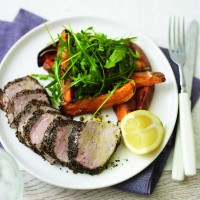 Herbed loin of lamb with mint sauce recipe