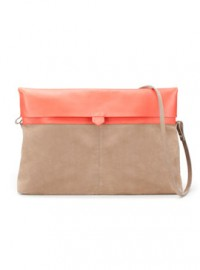 Zara Leather Clutch With Foldover Flap